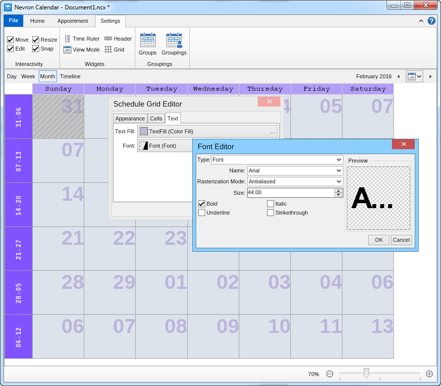 Editing the font in the grid of Nevron Calendar